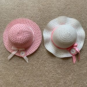 Other - Toddler Girls Pink & White Sun Straw Hats